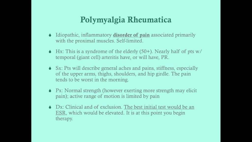 fogyás és polymyalgia rheumatica