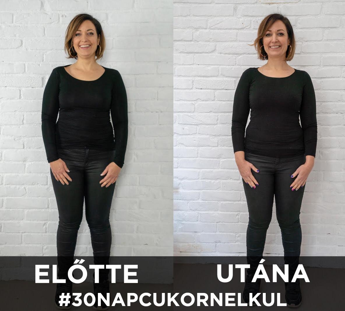 90 napos súlycsökkentő kihívás előtte és utána